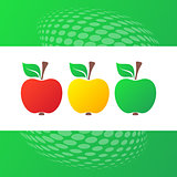 Vector red yellow green apple icons