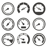Set of speedometers and dashboard device scales