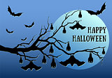 Halloween bats hanging, vector