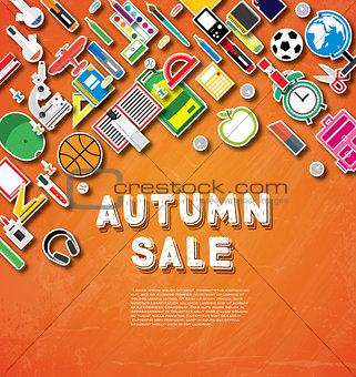 Autumn sale banner with school supplies on orange chalk board ba