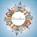 Barcelona Skyline with Color Buildings, Blue Sky and Copy Space.
