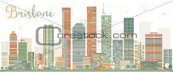 Abstract Brisbane Skyline with Color Buildings.
