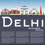 Delhi Skyline with Gray Buildings, Blue Sky and Copy Space.
