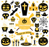 Halloween Set. Vector Illustration.