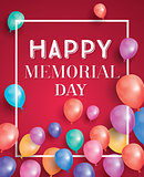 Happy Memorial Day Card with Flying Balloons and White Frame.