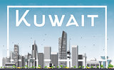 Kuwait City Skyline with Gray Buildings, Blue Sky and White Fram