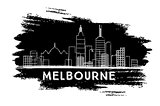 Melbourne Skyline Silhouette. Hand Drawn Sketch.