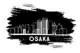 Osaka Skyline Silhouette. Hand Drawn Sketch.
