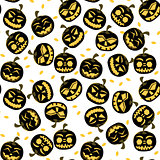 Seamless Pattern with Halloween Pumpkins.