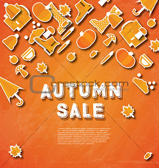 Autumn sale banner with pumpkin, leaves and clouds.