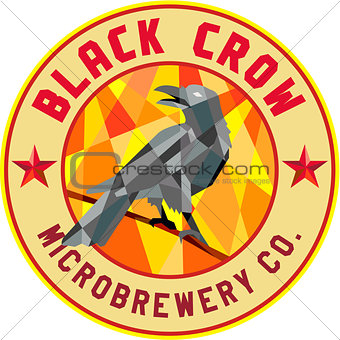 Crow Perched Microbrewery Circle Low Polygon
