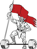 Viking Warrior Barbell Waving Flag Retro