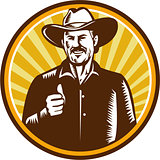 Cowboy Thumbs Up Sunburst Circle Woodcut