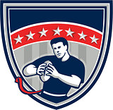 Flag Football QB Player Running Stars Crest Retro