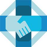 Handshake Forming Cross Octagon Retro