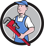 Handyman Holding Pipe Wrench Circle Cartoon