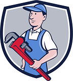 Handyman Pipe Wrench Crest Cartoon