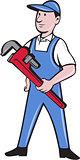 Handyman Pipe Wrench Standing Cartoon