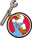 Bald Eagle Mechanic Spanner Circle Cartoon