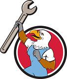 Bald Eagle Mechanic Spanner Circle Cartoon