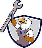 Mechanic Bald Eagle Spanner Crest Cartoon