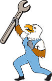 Mechanic Bald Eagle Spanner Standing Cartoon