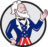 Uncle Sam American Waving Hand Circle Cartoon