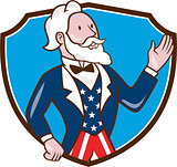 Uncle Sam Waving Hand Crest Cartoon
