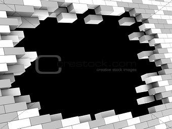 brick wall hole
