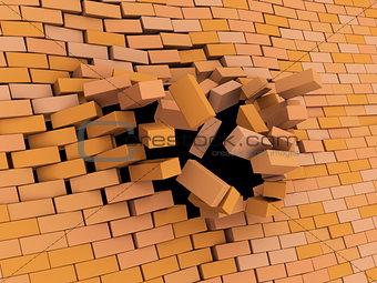 brick wall crash