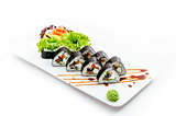 Japanese seafood sushi , roll on a white background