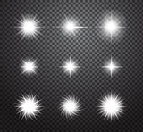 Set of stars and sparkles vector lights effects