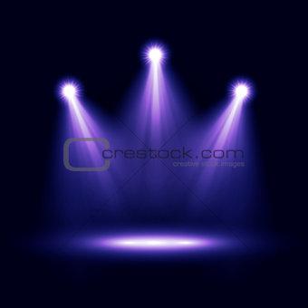 Three realistic vector spotlights lighting