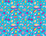 Graffiti seamless pattern with line icons collage
