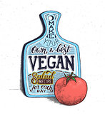 Vegan food. Motivational quote. Vintage poster