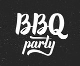 BBQ party logo. Barbeque text lettering label