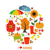 Autumn pattern, background. Set design element, vector illustration.