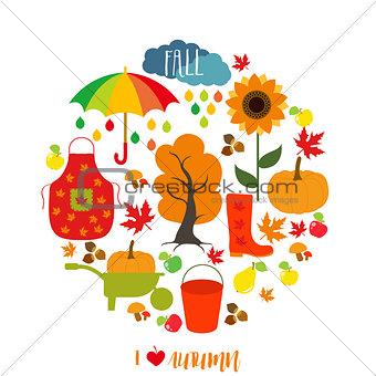 Autumn pattern, background. Set design element, vector illustration.