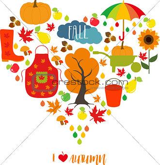 Autumn pattern, background. Set design element, vector illustration