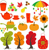 Autumn set, leaves, trees, mushrooms, nuts, pumpkin, apples, pears, rain, cloud, maple, sunflower, boots.