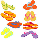 Flip flops, colored silhouettes. Vector illustration.