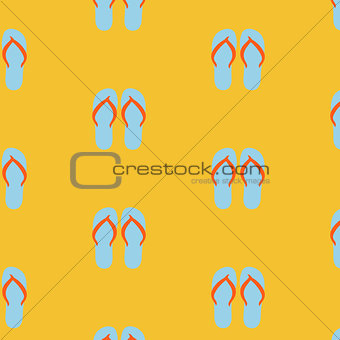 Slippers, seamless pattern on yellow background
