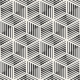 Vector Seamless Black And White Cube Lines Pattern