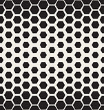 Vector Seamless Black and White Halftone Hexagonal Grid Pattern