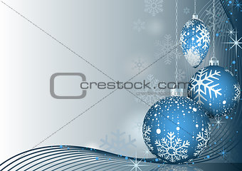 Blue Christmas Greeting with Baubles