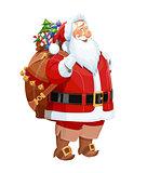 Smiling Santa Claus with gift sack. Christmas character.
