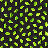 Vector Seamless Green Leaves Jumble Pattern