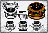 Retro poster with set of logo, labels, stickers and logotype elements for fast food restaurant, cafe, hamburger and burger.