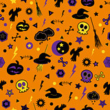 Halloween symbols on orange background.