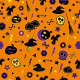 Halloween symbols on orange background.